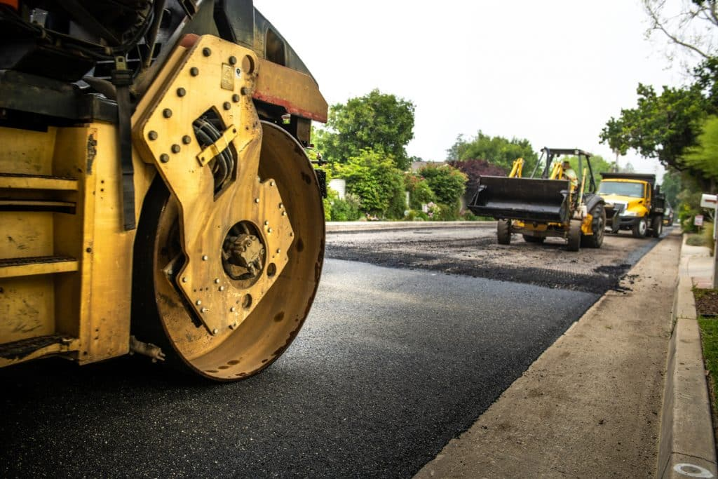Road Paving Construction on Residential Street